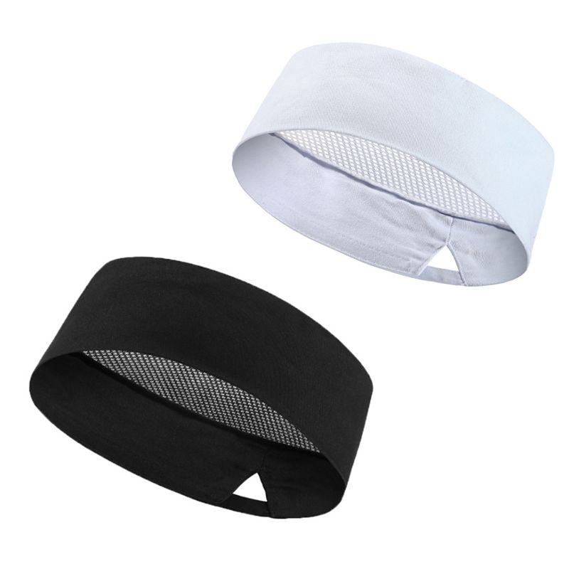 Women Men Breathable Mesh Top Skull Cap Solid Color Elastic Professional Flat Chef Beanie Vent Hat For Cooking Baker Kitchen