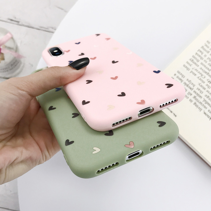 USLION Phone Case For iPhone 11 Pro Max X XS XR Xs Max Candy Color Love