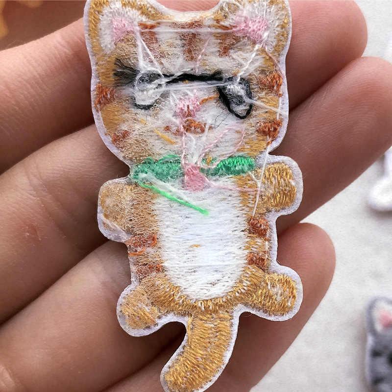 1 pcs 의류에 대 한 패치에 새로운 동물 고양이 애니메이션 의류 패치 자 수 철 장식 applique 스티커 채우기 구멍 배지