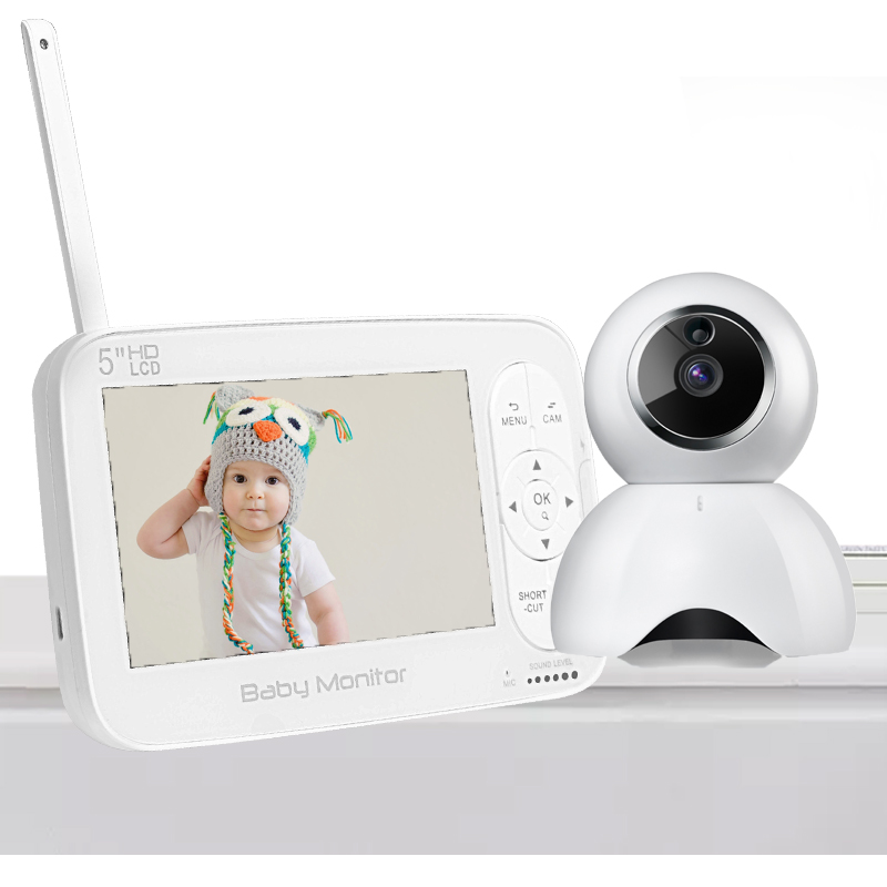 Wireless LCD Audio Video Baby Monitor 5.0' Radio Nanny Music Intercom IR 24h Portable Baby Camera Baby Walkie Talkie Babysitter