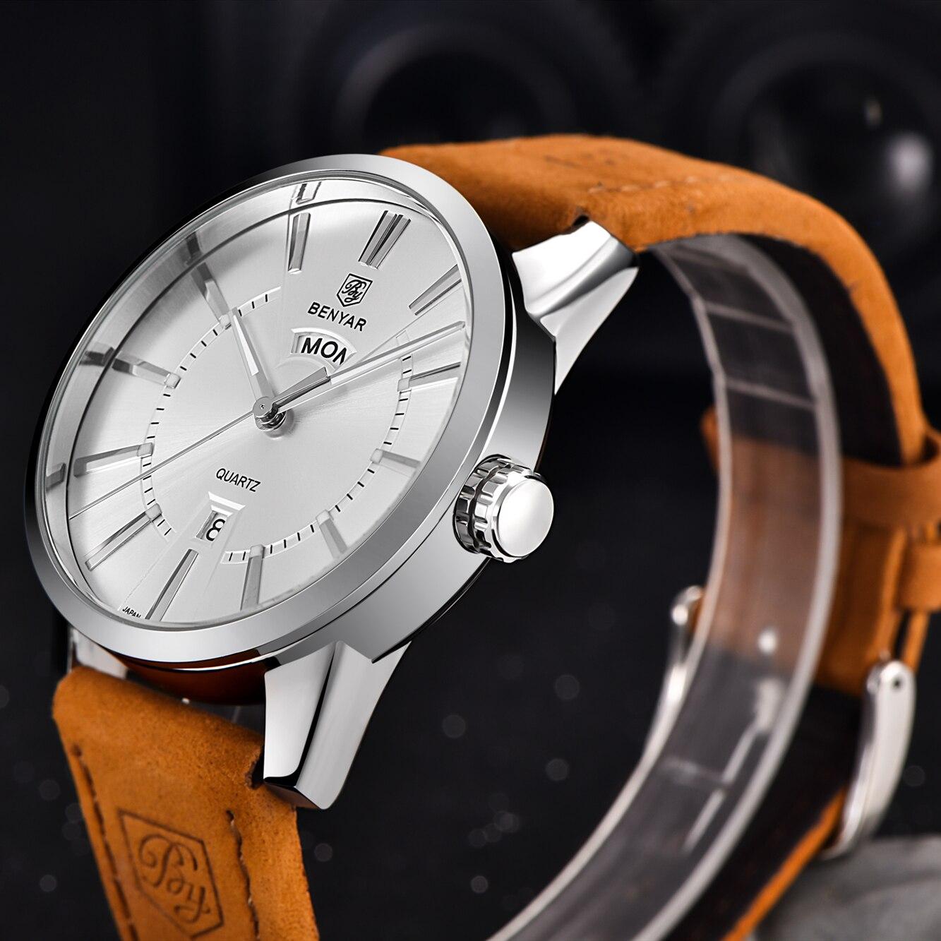 Image 2 - Relogio Masculino BENYAR Luxury Brand  Analog Display Date Mens Quartz Watch 30M Waterproof Genuine Leather Strap Casual Watchclock ipodwatch reportclock rugby -