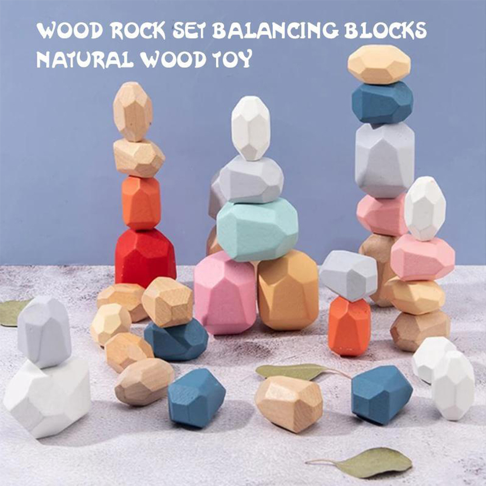 DDLOVER 16Pcs Wooden Stone Stacking Games Nordic Style Stone Blanace Building Block Kids Educational Puzzle Toy Children Gift