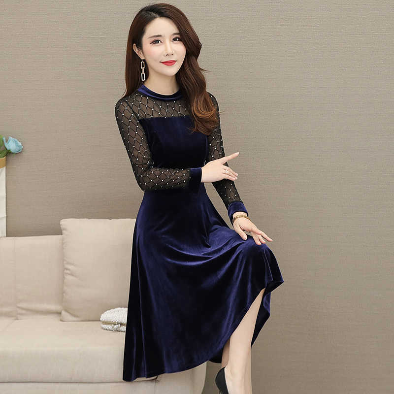 Лоскутное модное элегантное платье с высокой талией в стиле ретро; большие размеры; платье с v-образным вырезом и длинными рукавами; зимнее бархатное платье; осеннее женское платье; Mujer; Новинка