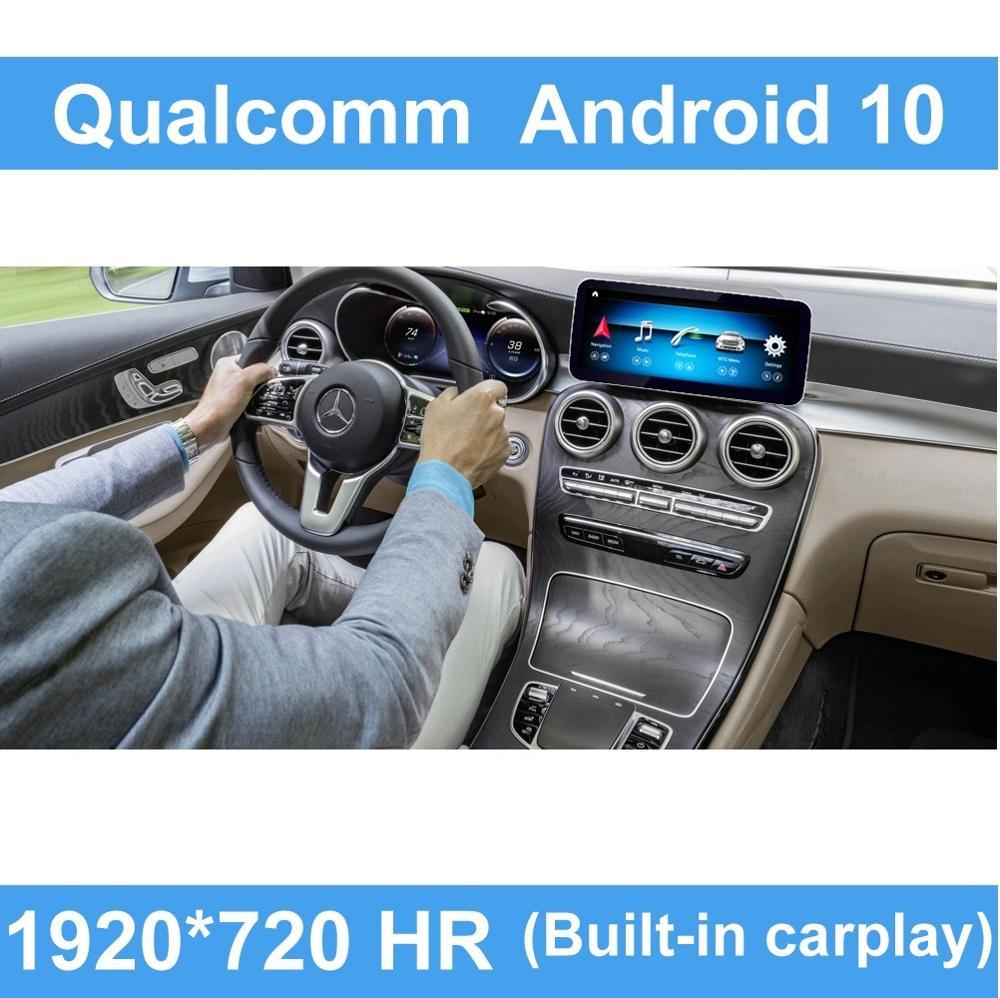 """Qualcomm octa core 4 + 64g 12.5 """"android 10, toque anti-reflexo, navegação gps para mercedes benz glc 2014-2019 w205 wifi lte"""