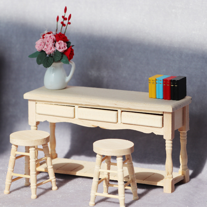 1:12 wood miniature Computer desk doll house reading writing table 3 drawers