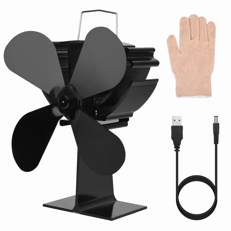 Heat Stove Fan Heat And Cold Wood Stove Fan Environmentally Protection Ultra Quiet Fireplace Wood Burning Efficient Cooling 4 Pi