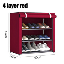Home Multi-Layer Simple Shoe Rack With Zipper Dustproof Nylon Cabinet Storage Multi-Functional Reinforced