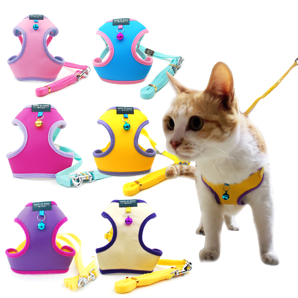 Pet Cat Harness Vest Leash Pet Adjustable Harness With Bell Walking Leash For Kitten Puppy Small Medium Dog Imitated Leather
