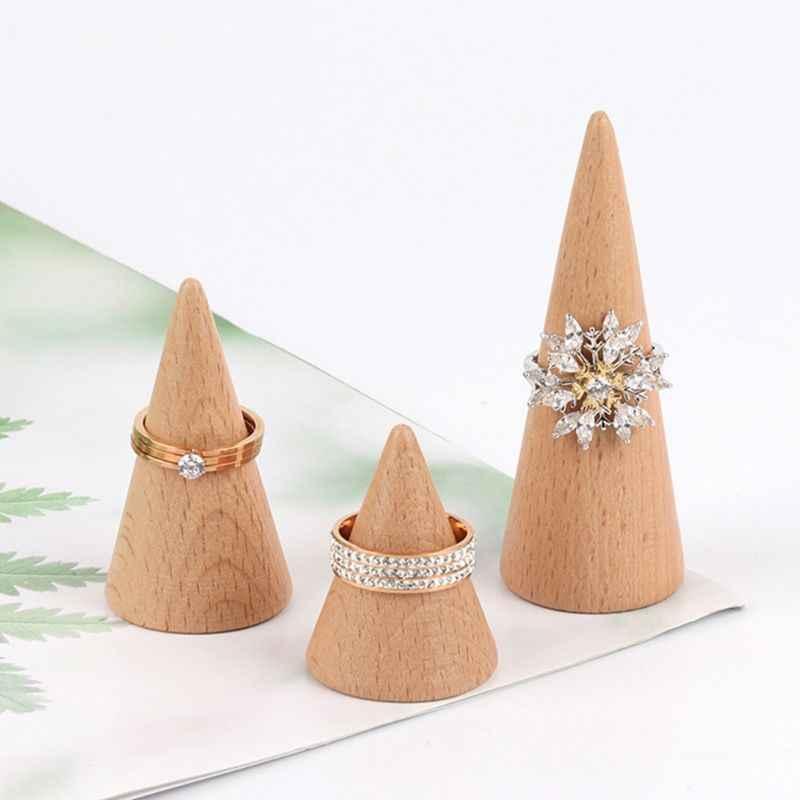 Simple non peint en bois porte-anneau bijoux présentoir cône forme support organisateur vitrine bricolage berceaux accessoires