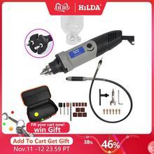 HILDA 400W Mini elektrikli matkap değirmeni değişken hız Dremel tarzı döner aracı ile Mini matkap esnek şaft ve aksesuarları
