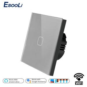 Esooli стандарт ЕС Tuya/Smart Life/ewelink 1/2 банда WiFi настенный светильник сенсорный переключатель для Google Home Amazon Alexa Голосовое управление