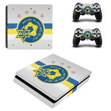 MaccabiเทลอาวีฟFC PS4 Slimสติกเกอร์สติกเกอร์ผิวไวนิลสำหรับSony Playstation 4 คอนโซลและตัวควบคุมPS4 Slimผิวสติกเกอร์