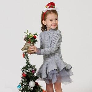 Image 3 - תינוק חם ילדה סרוג שיפון שמלת חג המולד מסיבת חתונת מיני טוטו שמלות חורף ילדי בנות סוודר ילדי בגדי שמלה