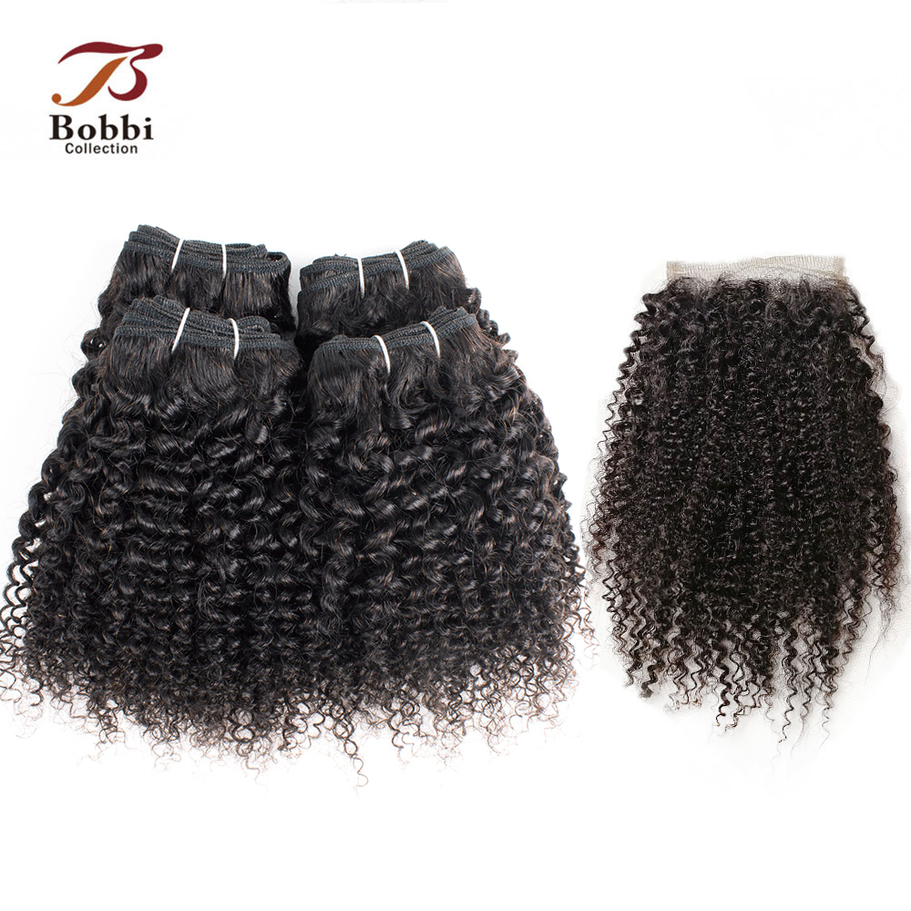 BOBBI COLLECTION 50g/pc 4/6 Bundles With Closure Afro Kinky Curly Hair 10 12 Inch Indian Non-Remy Human Hair Short Bob Style