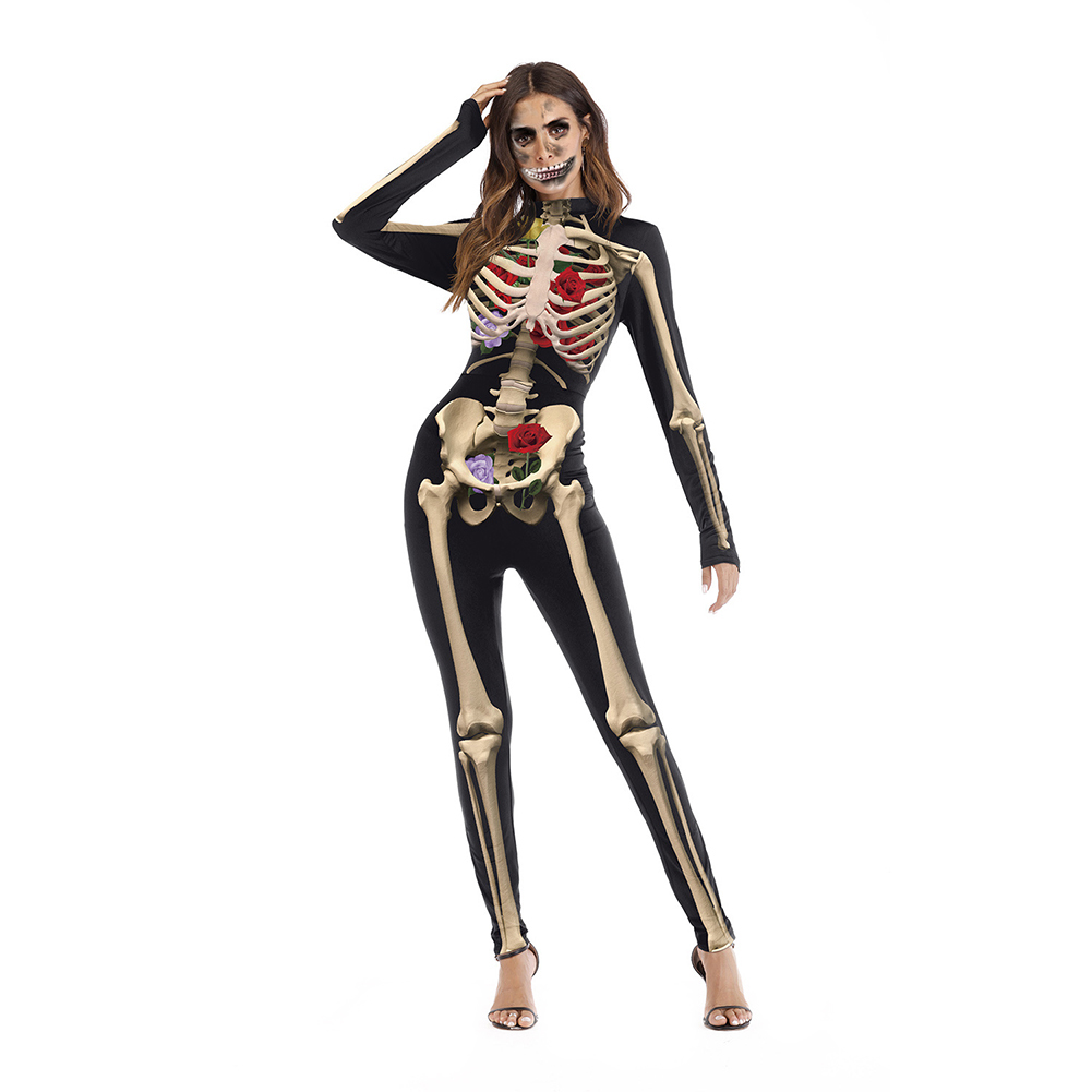 Party Club Skeleton Print Cosplay Long Sleeve Stand Collar Soft Scary Elastic   Jumpsuit   Slim Unisex Back Zipper Halloween
