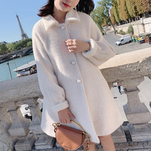 Coat Teddy Faux-Fur Winter Luxury Jacket Warm Thick Lapel MX19C9209 Loose MISHOW