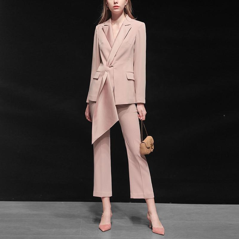 Suit women autumn new women's fashion temperament casual two-piece pink suit jacket nine pants professional party dress suit 16