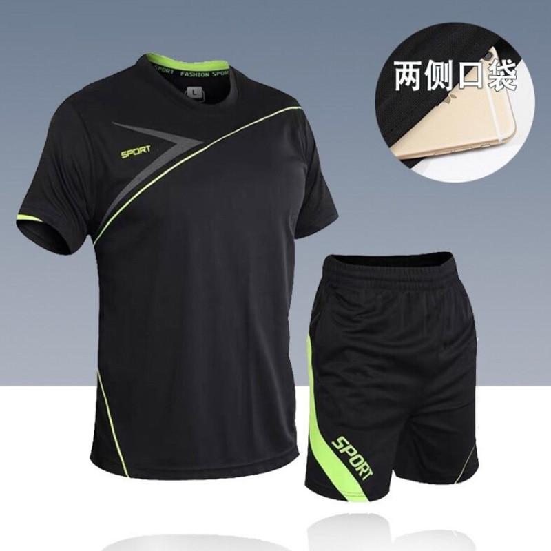 men's set  sportswear kit short sleeve sports sport shirt men running 2pcs suit for soccer gym fitness men t-shirts+shorts sets 6