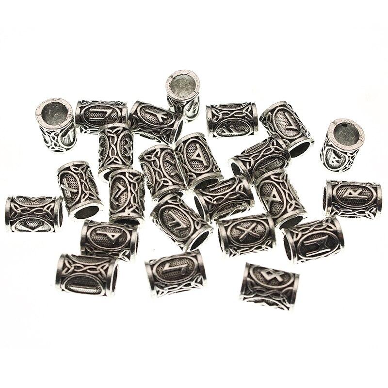 24pcs/Set Futhark Viking Runes Tube Spacer Beads for Jewelry Making Beards Hair Bead fit DIY Necklace Bracelet Handmade Findings(China)