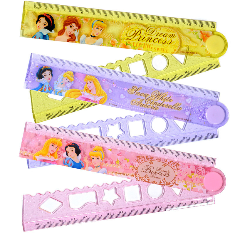 Princess Folding Rules 30 Cm Girl'S Primary School STUDENT'S Learning Stationery Ruler Female Classmate-Exam Measuring Tools