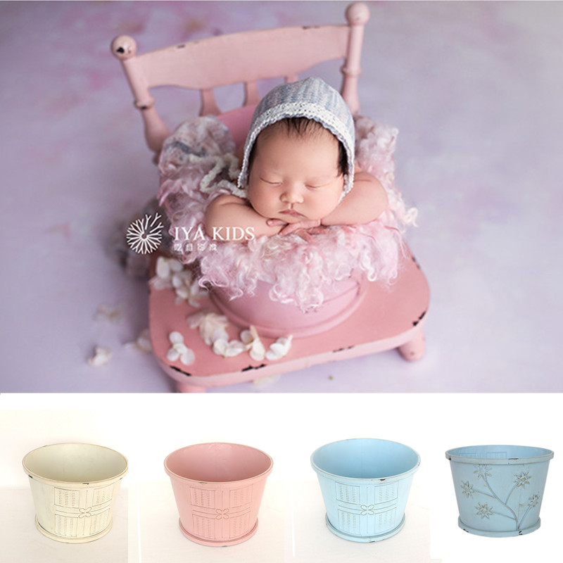Newborn Props For Photograph Boy Round Carved Iron Bucket For Studio Photography Accessories Newborn Chair Props Posing Sofa Bed