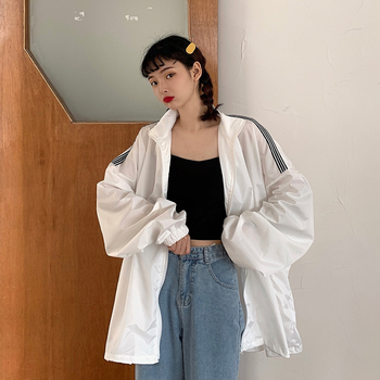 GOOHOJIO 2020 Sun Protection Fashionable Casual Tops Female  Loose Zipper All-match Coats Autumn Classic Cardigan Women Jackets