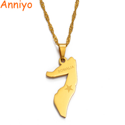 Anniyo SMALL Somalia Map Necklace for Women/Girl Gold Color Jewelry Soomaaliya Pendant Somali Country Maps #009321