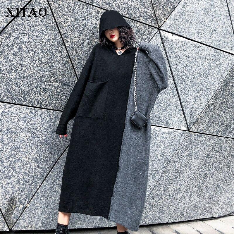 XITAO longue tricoté Hit couleur robe femmes mode poche 2019 automne pull plissé élégant Patchwork minorité robe Xj2504