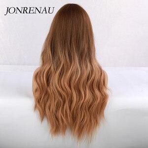 Image 4 - JONRENAU syntetyczny Ombre brązowy na złoty blond peruka długie naturalne włosy peruki dla białych/czarnych kobiet Party lub odzież na co dzień