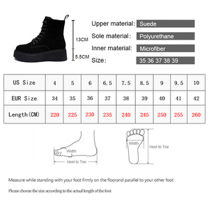Image 5 - Women Boots Natural suede leather Ankle Boots flat Platform Boots Fashion zipper Thick bottom Black Ladies Shoes