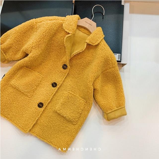 Hot Sale Girl's Coat Deer Leather Velvet Plus Lamb Velvet One-body Coat Winter Wear Children's Clothing Baby Girl Long Jacket 3