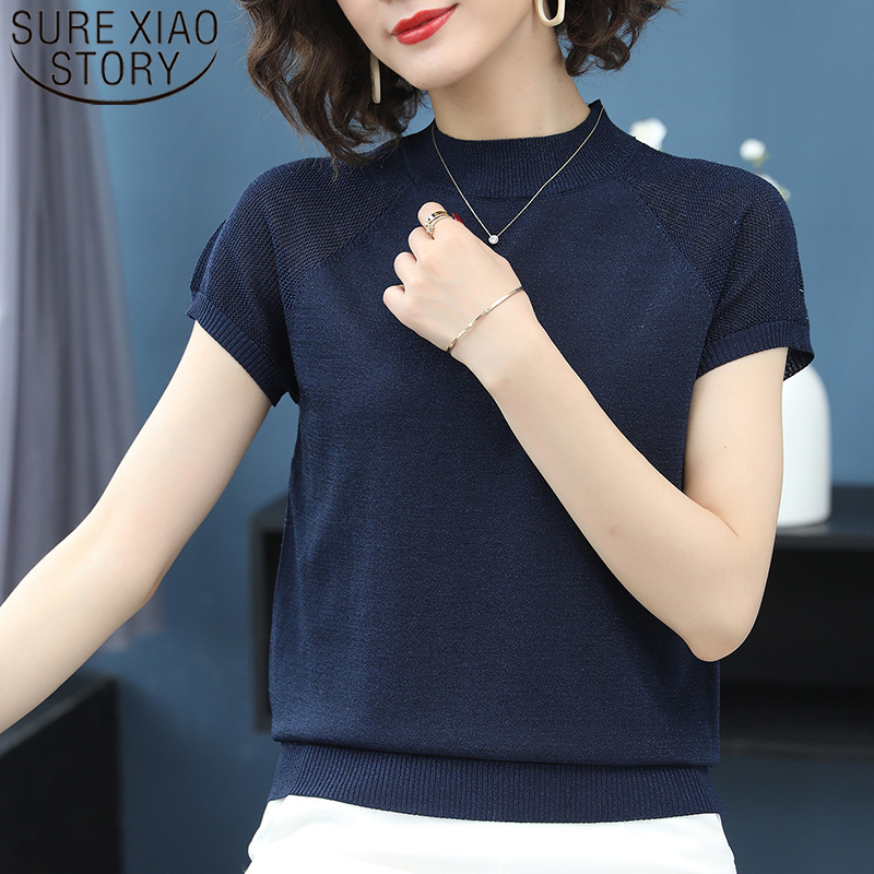 Women Knitted Short Sleeve T-shirt Solid Color Ice Silk Stand-collar Elegant Base Shirt Summer Thin Short Sleeve 8653 50
