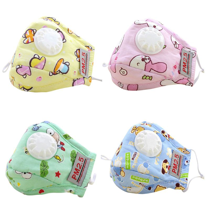 Children Children Kids PM2.5 Cotton Mouth Mask Carbon Air Filter Cartoon Animal Printed Candy Color Mouth-Muffle Respirator With