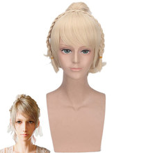 New Arrival FF15 XV Lunafreya Nox Fleuret Princess Luna Braided Heat Resistant Hairpiece Cosplay Costume Wigs+ Wig Cap(China)