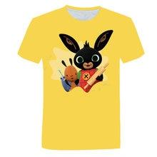 Bonito animal coelho camiseta crianças casuais 3d 2021 novo menino menina dos desenhos animados bing mudança topos o-pescoço roupas interessantes 4t-14t