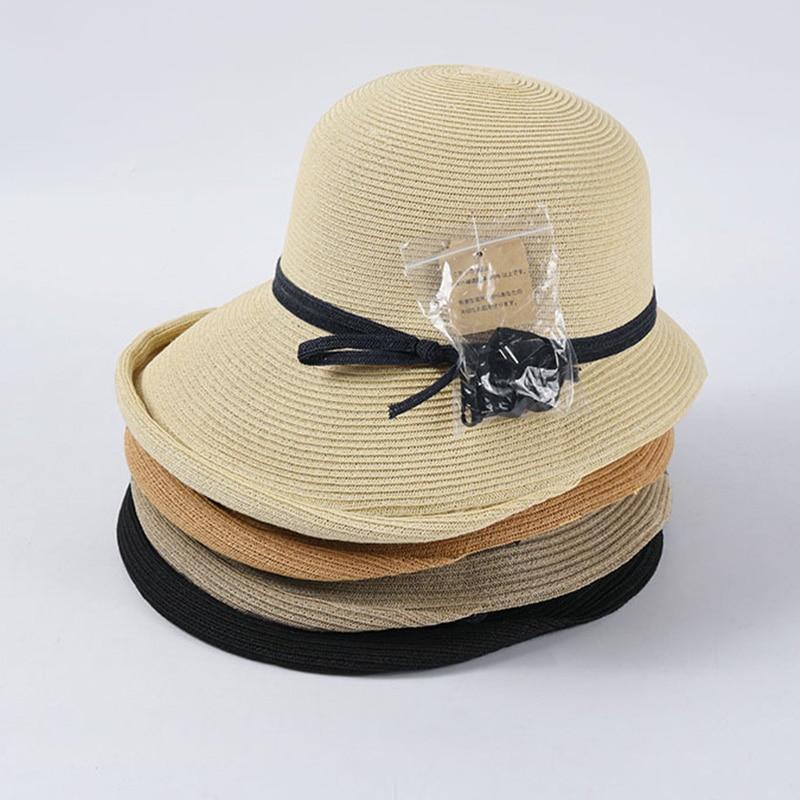 2020 Women Woven Foldable Summer Hat Wind Rope Wide Brim Bucket Fisherman Hat Kentucky Derby Straw Sun Hat UV Visor Beach Hat
