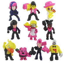 10pcs/set Brawl Game Cartoon Star Hero Figure Model Spike Shelly Leon Primo Mortis Doll Cute Toy Gift For Boy Girl Kids Toys