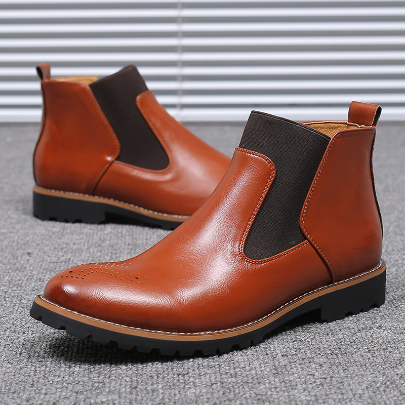 ARIARI Autumn Winter Leather Ankle Chelsea Boots Men Shoes With Fur Warm Vintage Classic Male Casual Motorcycle Boot