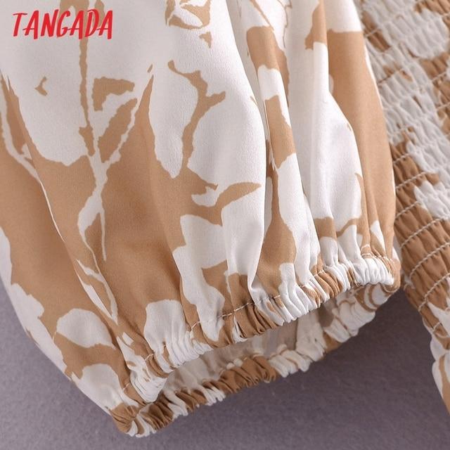 Tangada 2021 Summer Women Floral Print Short Dress Square Neck Short Sleeve Ladies Mini Dress Vestidos 3A148 4