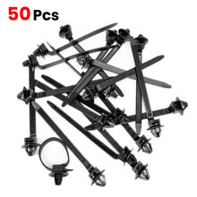 50 шт нейлоновые черные крепления для автомобильных кабелей