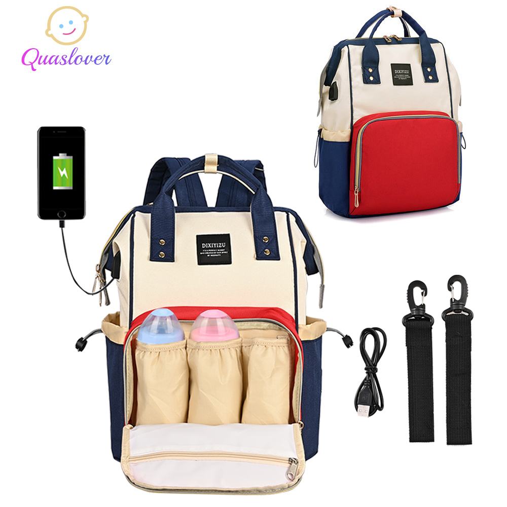 Baby Diaper Nappy Backpack Maternity Large Capacity Mummy Bag USB Charging Port