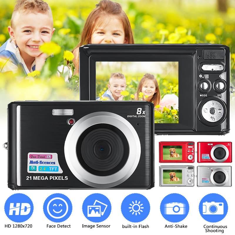 2,7 zoll Ultra-dünne 21MP HD Digital Kamera Anti-Schütteln Gesicht Erkennung Camcorder Max 21 MP 8X Digital zoom Video Kamera