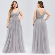 Платье для выпускного вечера размера плюс с аппликацией, кружевное платье с v-образным вырезом, Тюлевое платье, элегантные вечерние платья с открытой спиной