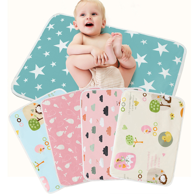 1Pcs Waterproof Reusable Baby Nappy Changing Pad Cartoon Printed Cotton Baby Diaper Mat Cushion Infant Bedding Supplies
