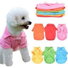 Candy Farbe Hund Kleidung Shirt Für Kleine Mittelgroße Hunde Kleidung Hoodies Frühling Sommer drehen-unten Kragen Kurzarm Pet hund Kostüm