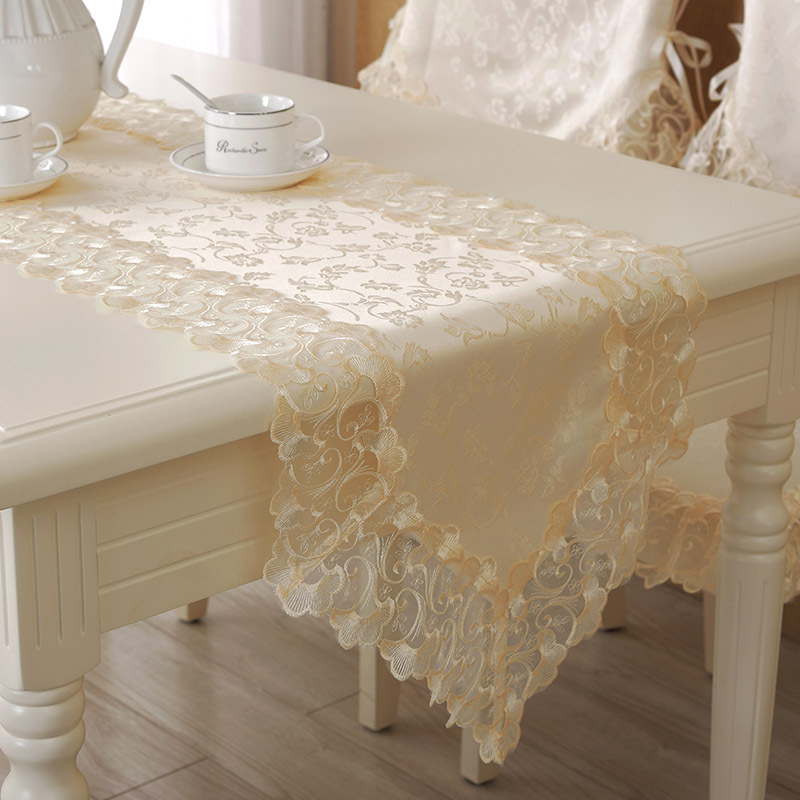 Elegant Lace Embroidery Table Runner For Wedding Banquet Table Decoration Cover Kitchen Dining Table Runners Chemin De Table