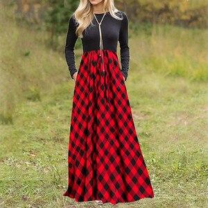 Женское длинное платье в красную клетку # Z40, длинное вечернее платье-блузка с длинным рукавом, весна-осень