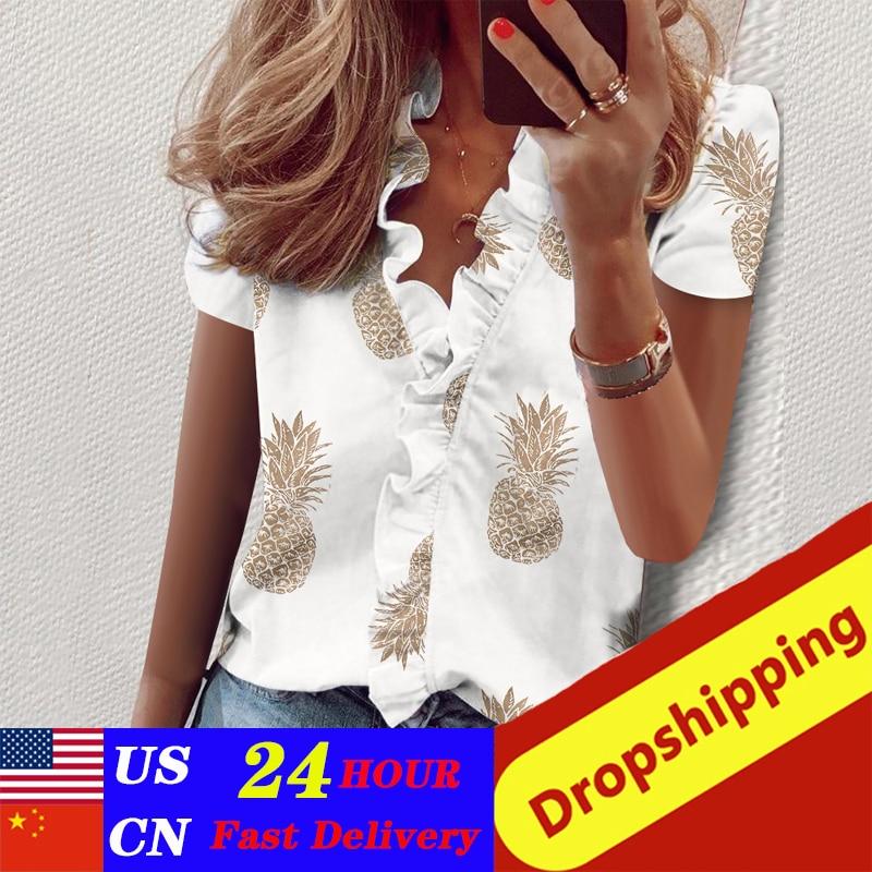 Womens Tops And Blouse New Pineapple Print Women's Blouses Summer Short Sleeve Blouse Shirt Ruffle V Neck Blouse Women 3xl
