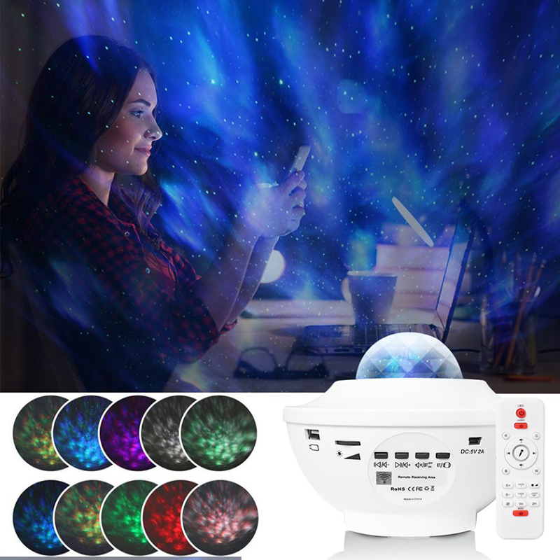 GALAXY Atmospher Projector Music Starry Water Wave LED Projector Light Bluetooth Sound Box Music Speaker