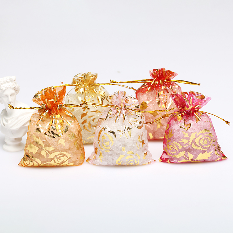 50Pcs Rose Design Organza Bag Jewelry Packaging Candy Wedding Party Goodie Packing Favors Cake Pouches Drawable Bags